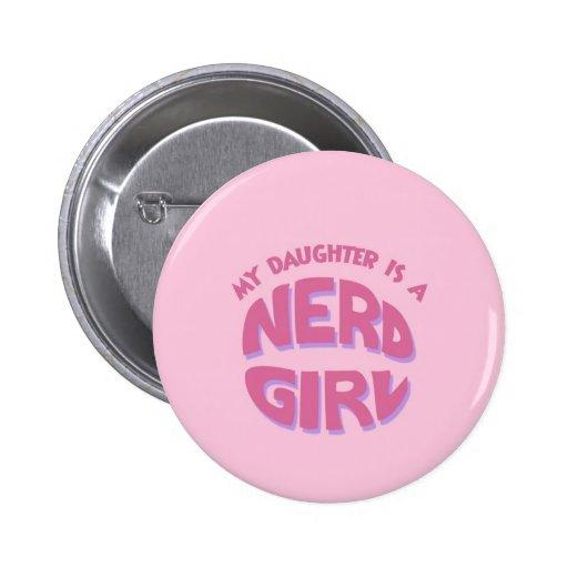 Nerd Girl Daughter Button