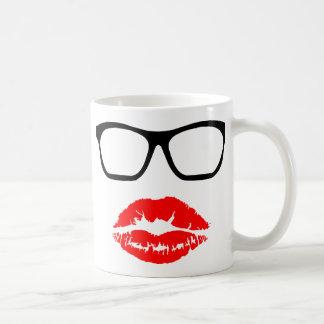 Nerd Glasses and Lipstick Kiss Coffee Mug