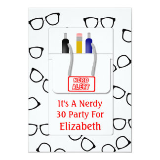"Nerd Glasses Pocket Protector Nerd Theme Party 5"" X 7"" Invitation Card"