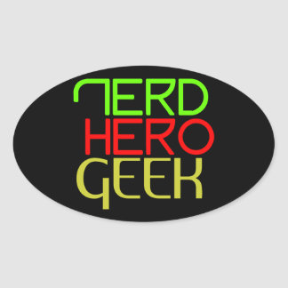 Nerd hero geek files oval sticker
