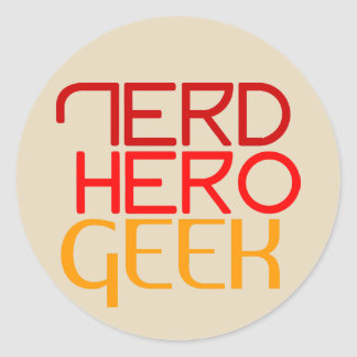 Nerd hero geek red classic round sticker