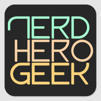 Nerd hero geek square sticker