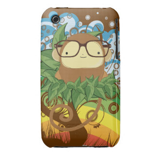 nerd monkey on leaves iPhone 3 Case-Mate cases