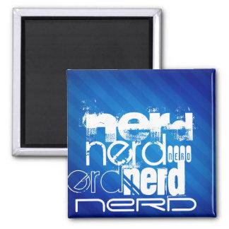 Nerd; Royal Blue Stripes Fridge Magnets