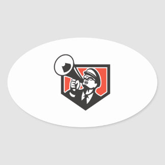 Nerd Shouting Megaphone Shield Retro Oval Sticker