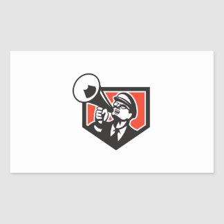 Nerd Shouting Megaphone Shield Retro Rectangular Sticker