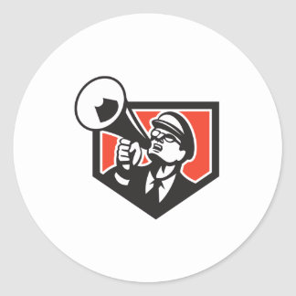 Nerd Shouting Megaphone Shield Retro Round Sticker