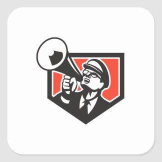Nerd Shouting Megaphone Shield Retro Square Sticker