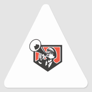 Nerd Shouting Megaphone Shield Retro Triangle Sticker