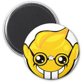 nerd smiley face 6 cm round magnet