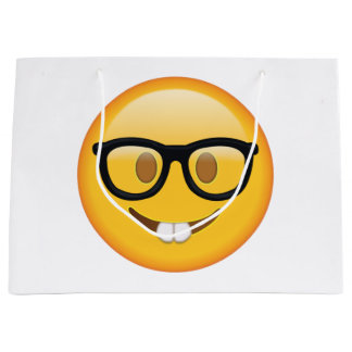 Nerd with Glasses - Emoji Large Gift Bag