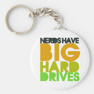 Nerds have big hard drives basic round button key ring