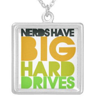 Nerds have big hard drives square pendant necklace