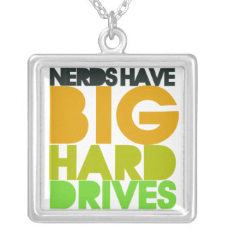 Nerds have big hard drives square pendant necklace