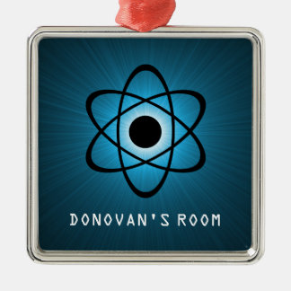 Nerdy Atomic Door Hanger Ornament, Blue Silver-Colored Square Decoration