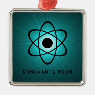 Nerdy Atomic Door Hanger Ornament, Teal Silver-Colored Square Decoration