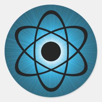 Nerdy Atomic Stickers, Blue Classic Round Sticker