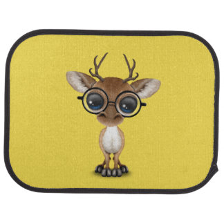 Nerdy Baby Deer Wearing Glasses Car Mat