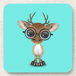 Nerdy Baby Deer Wearing Glasses Coaster