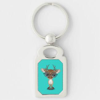 Nerdy Baby Deer Wearing Glasses Key Ring