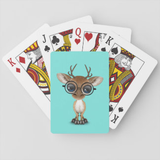 Nerdy Baby Deer Wearing Glasses Playing Cards