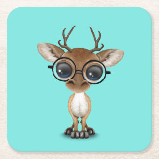 Nerdy Baby Deer Wearing Glasses Square Paper Coaster