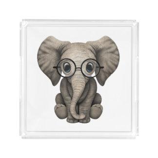 Nerdy Baby Elephant Wearing Glasses Acrylic Tray