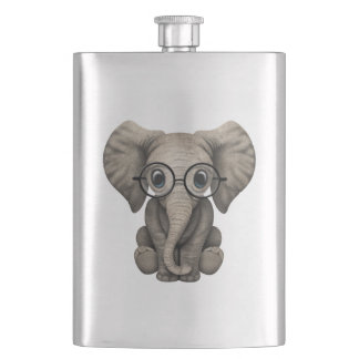 Nerdy Baby Elephant Wearing Glasses Hip Flask