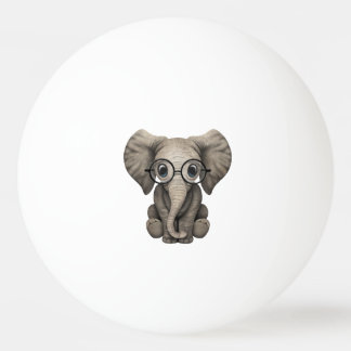Nerdy Baby Elephant Wearing Glasses Ping Pong Ball