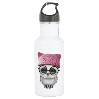Nerdy Baby Owl Wearing Pussy Hat 532 Ml Water Bottle