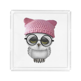 Nerdy Baby Owl Wearing Pussy Hat Acrylic Tray