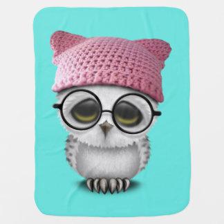 Nerdy Baby Owl Wearing Pussy Hat Baby Blanket