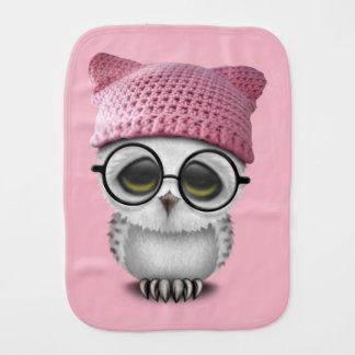 Nerdy Baby Owl Wearing Pussy Hat Burp Cloth