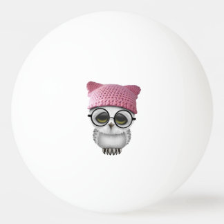 Nerdy Baby Owl Wearing Pussy Hat Ping Pong Ball
