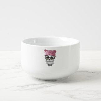 Nerdy Baby Owl Wearing Pussy Hat Soup Mug