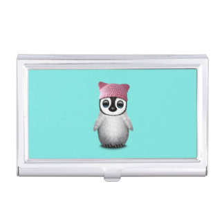 Nerdy Baby Penguin Wearing Pussy Hat Business Card Holder