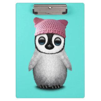 Nerdy Baby Penguin Wearing Pussy Hat Clipboard