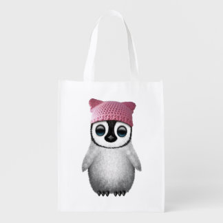 Nerdy Baby Penguin Wearing Pussy Hat Reusable Grocery Bag