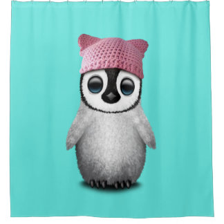 Nerdy Baby Penguin Wearing Pussy Hat Shower Curtain