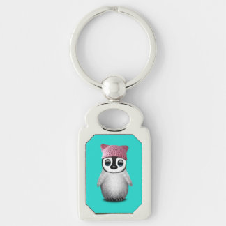 Nerdy Baby Penguin Wearing Pussy Hat Silver-Colored Rectangle Key Ring