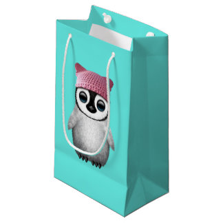 Nerdy Baby Penguin Wearing Pussy Hat Small Gift Bag