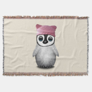 Nerdy Baby Penguin Wearing Pussy Hat Throw Blanket