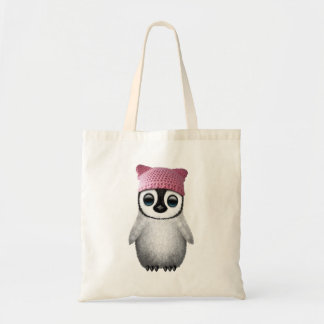 Nerdy Baby Penguin Wearing Pussy Hat Tote Bag