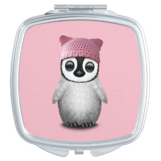 Nerdy Baby Penguin Wearing Pussy Hat Vanity Mirror