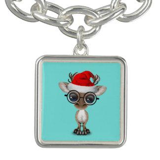 Nerdy Baby Reindeer Wearing a Santa Hat
