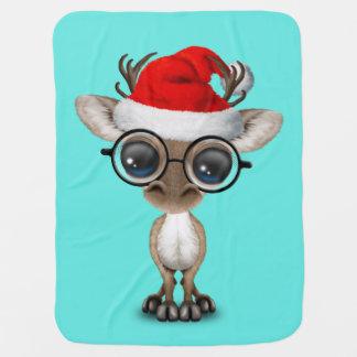 Nerdy Baby Reindeer Wearing a Santa Hat Baby Blanket