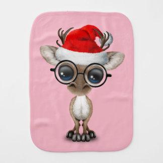Nerdy Baby Reindeer Wearing a Santa Hat Burp Cloth