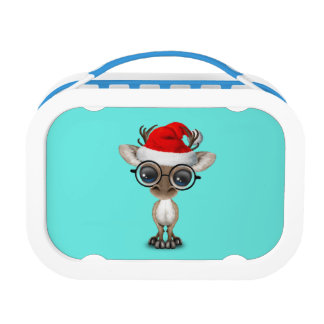 Nerdy Baby Reindeer Wearing a Santa Hat Lunch Box