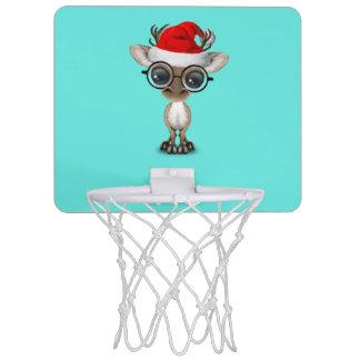 Nerdy Baby Reindeer Wearing a Santa Hat Mini Basketball Hoop