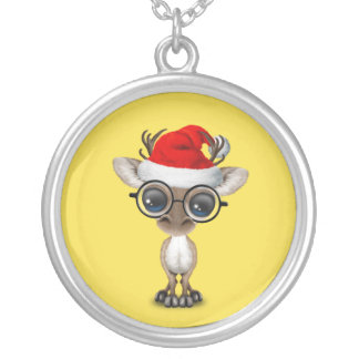 Nerdy Baby Reindeer Wearing a Santa Hat Silver Plated Necklace
